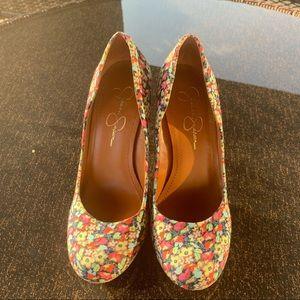 Jessica Simpson Floral Heels (Women's US 7.5)